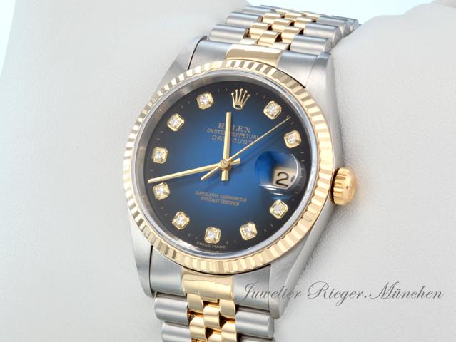 rolex datejust 16233 stahl gold 750 diamanten automatik 36 mm herrenuhr damenuhr ebay. Black Bedroom Furniture Sets. Home Design Ideas