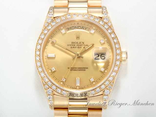 rolex day date gelbgold 750 diamanten 18138 automatik brillanten daydate gold ebay. Black Bedroom Furniture Sets. Home Design Ideas