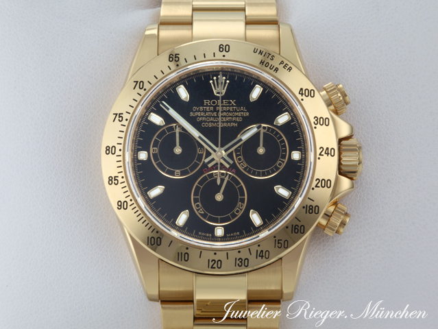rolex uhr daytona gold 750 116528 chronograph automantik armbanduhr herrenuhr ebay. Black Bedroom Furniture Sets. Home Design Ideas