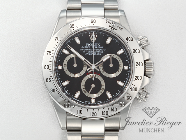 rolex daytona 116520 stahl chronograph automatik 2007. Black Bedroom Furniture Sets. Home Design Ideas