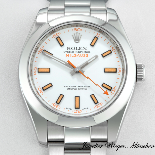 rolex uhr milgauss 116400 stahl automatik herren. Black Bedroom Furniture Sets. Home Design Ideas