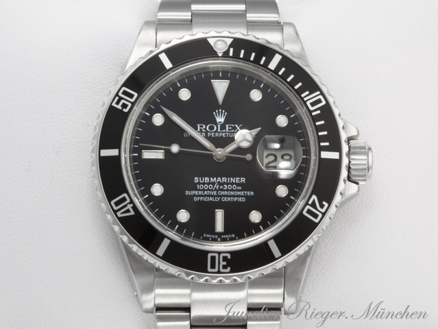 rolex uhr submariner date 16610 stahl automatik herren. Black Bedroom Furniture Sets. Home Design Ideas