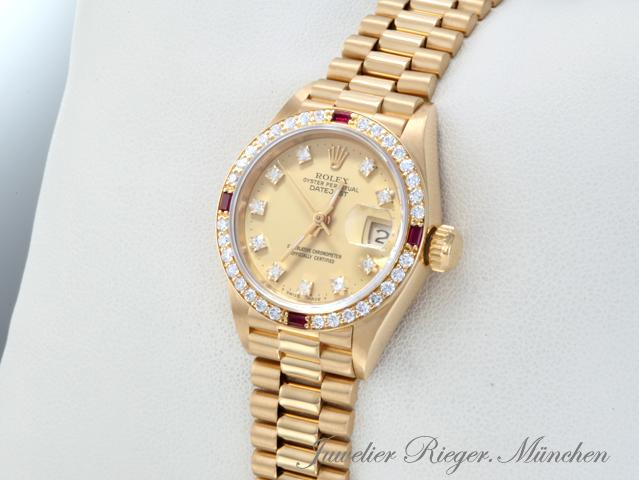 rolex lady datejust gelbgold 750 diamanten rubine automatik date just gold. Black Bedroom Furniture Sets. Home Design Ideas