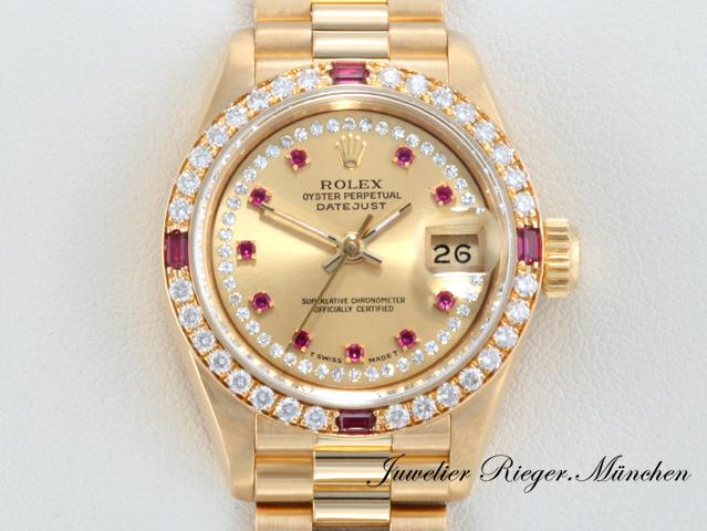 rolex lady datejust gelbgold 750 rubine diamanten brillanten automatik gold ebay. Black Bedroom Furniture Sets. Home Design Ideas