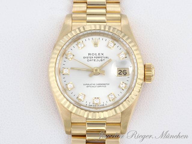 rolex uhr lady datejust gelb gold 750 diamanten automatik armbanduhr date just ebay. Black Bedroom Furniture Sets. Home Design Ideas