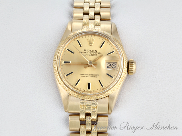 rolex uhr lady date just gold 750 automatik damen armbanduhr damenuhr datejust ebay. Black Bedroom Furniture Sets. Home Design Ideas