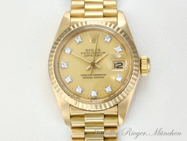 rolex uhr lady date just gelb gold 750 diamanten automatik armbanduhr datejust ebay. Black Bedroom Furniture Sets. Home Design Ideas