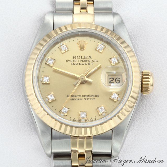 rolex uhr lady datejust stahl gold 750 diamanten damen armbanduhr damennuhr ebay. Black Bedroom Furniture Sets. Home Design Ideas