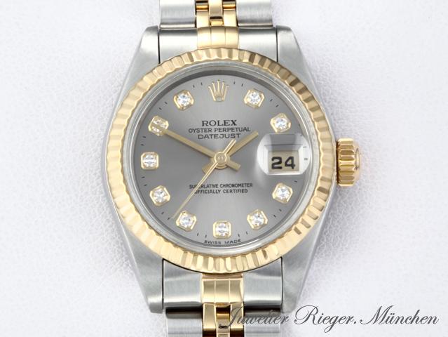 rolex lady date just 79173 stahl gold 750 diamanten automatik damenuhr datejust ebay. Black Bedroom Furniture Sets. Home Design Ideas