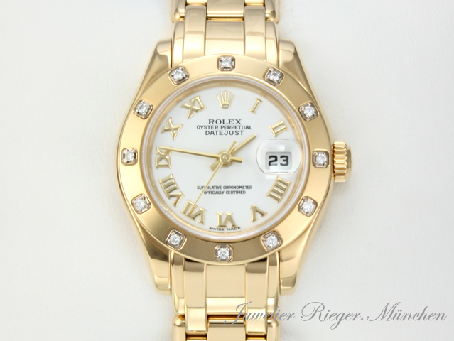 rolex uhr pearlmaster date just gold 750 diamanten ref 80318 damenuhr armbanduhr ebay. Black Bedroom Furniture Sets. Home Design Ideas