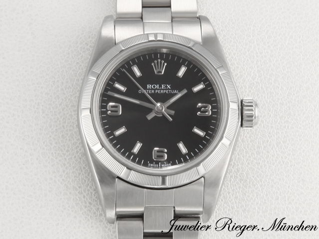 rolex lady oyster perpetual stahl automatik armbanduhr damenuhr date just 580 ebay. Black Bedroom Furniture Sets. Home Design Ideas