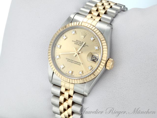 rolex datejust medium 31 mm stahl gold 750 diamanten automatik lady damenuhr 698 ebay. Black Bedroom Furniture Sets. Home Design Ideas