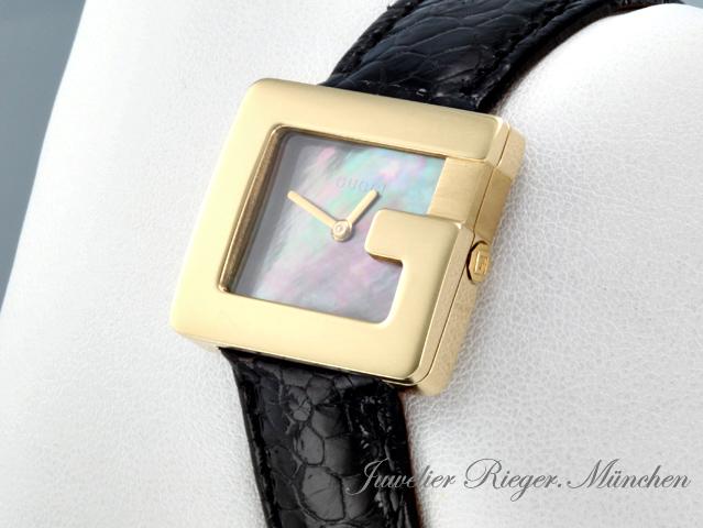gucci uhr g watch gelbgold 750 perlmutt medium damenuhr. Black Bedroom Furniture Sets. Home Design Ideas