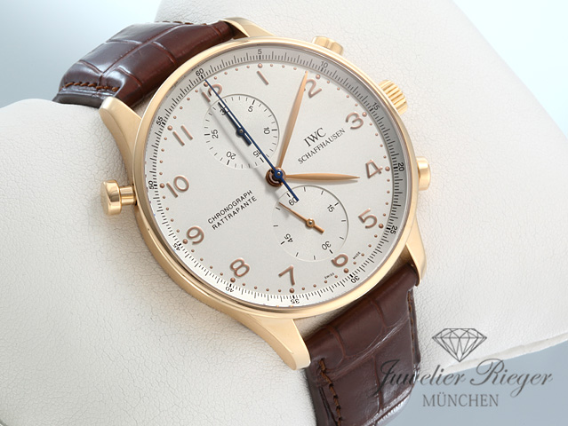 iwc portugieser rotgold 750 rattrapante chronograph iw 3712 rosegold gold ebay. Black Bedroom Furniture Sets. Home Design Ideas