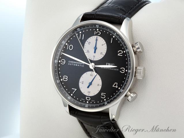 iwc uhr portugieser stahl chronograph iw3714 automatik armbanduhr herrenuhr ebay. Black Bedroom Furniture Sets. Home Design Ideas
